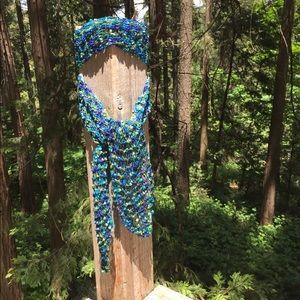Accessories - Hand crochet ribbon thread skinny scarf